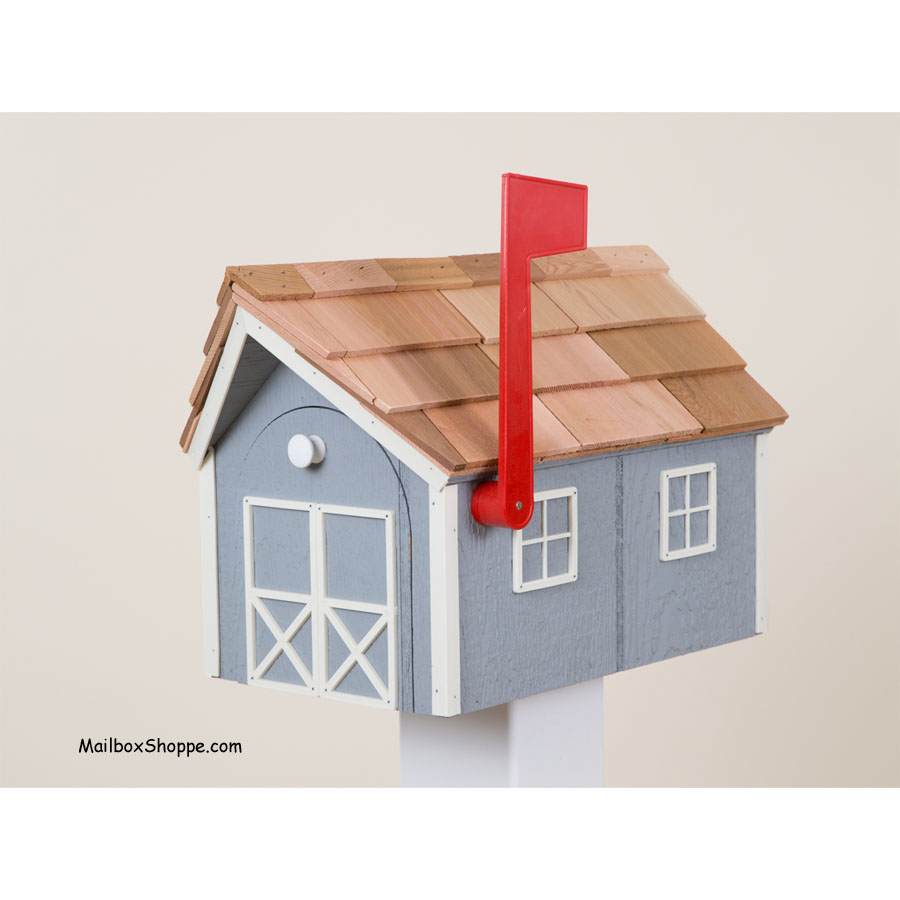 Amish Dutch Barn Painted Wooden Mailbox with Cupola Red with White Trim